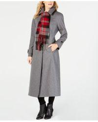 London Fog - Maxi Wool-blend Coat With Scarf - Lyst