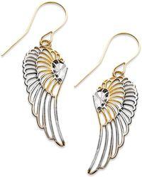 Macy's - 10k Two Tone Gold Earrings, Wing Dangle Earrings - Lyst