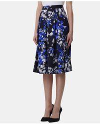 Tahari - Printed Pleated A-line Midi Skirt - Lyst