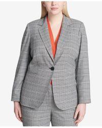 Calvin Klein - Plus Size Plaid Blazer - Lyst