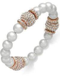 Joan Boyce Rose Gold-tone Pavé Bead & Grey Imitation Pearl Stretch Bracelet