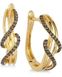 Le Vian - Wavy Diamond Hoop Earrings (1/4 Ct. T.w.) In 14k Gold - Lyst