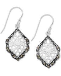 Macy's - Marcasite Filigree Drop Earrings In Fine Silver-plate - Lyst