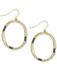 The Sak - Earrings, Gold-tone Brown Thread-wrapped Hoop Earrings - Lyst