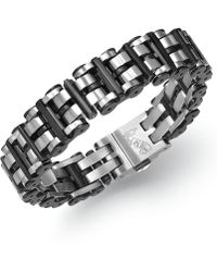 Macy's - Men's Black Hardware Link Bracelet In Stainless Steel - Lyst