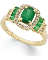 Macy's | 14k Gold Ring, Emerald (1 Ct. T.w.) And Diamond (1/5 Ct. T.w) Rectangle Ring | Lyst