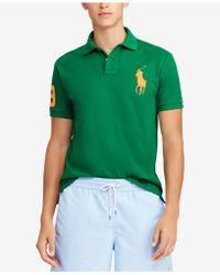 1790499b Polo Ralph Lauren Custom Slim Fit Mesh Polo in Black for Men - Lyst