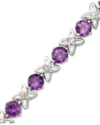 Macy's - Sterling Silver Bracelet, Amethyst (6-1/4 Ct. T.w.) And Diamond Accent - Lyst