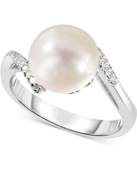Macy's - Cultured Freshwater Pearl (9mm) & Diamond Accent Ring In Sterling Silver - Lyst