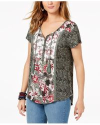Style & Co. - Mixed-print Peasant Top, Created For Macy's - Lyst