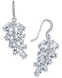 Charter Club - Silver-tone Pavé Leaf Drop Earrings - Lyst