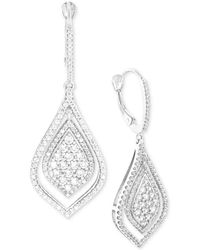 Wrapped in Love - Diamond Teardrop-style Drop Earrings (1-1/2 Ct. T.w.) In 14k White Gold - Lyst