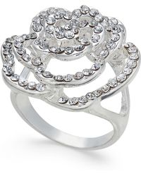 INC International Concepts - Silver-tone Pavé Rose Ring - Lyst