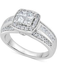 Macy's - Diamond Quad Cluster Engagement Ring (1 Ct. T.w.) In 14k White Gold - Lyst