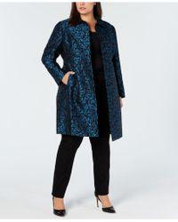 Anne Klein - Plus Size Jacquard Snap-front Coat - Lyst
