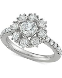 Marchesa - Diamond Floral Engagement Ring (1-5/8 Ct. T.w.) In 18k White Gold - Lyst