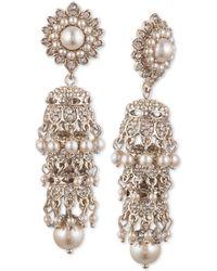 Marchesa - Gold-tone Cubic Zirconia & Imitation Pearl Tiered Linear Drop Earrings - Lyst