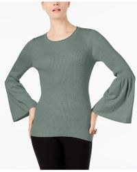 Cable & Gauge - Ribbed Lantern-sleeve Jumper - Lyst