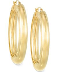 Signature Gold - Polished Hoop Earrings In 14k Gold Over Resin - Lyst
