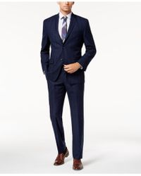 Marc New York - Modern-fit Stretch Navy Plaid Suit - Lyst
