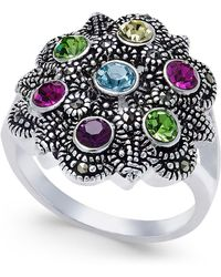 Macy's - Multicolor Crystals And Marcasite Ring In Silver-plate - Lyst