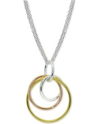 Giani Bernini - Tricolor Interlocking Circle Pendant Necklace In Sterling Silver - Lyst