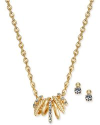 Charter Club - Gold-tone 2-pc. Set Multi-ring Pendant Necklace And Crystal Stud Earrings, Created For Macy's - Lyst