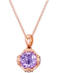 Le Vian - Pink Amethyst (1-3/4 Ct. T.w.) And Diamond (1/10 Ct. T.w.) Pendant Necklace In 14k Rose Gold - Lyst
