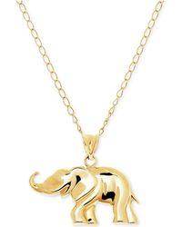Macy's - Elephant Pendant Necklace In 10k Gold - Lyst