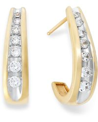 Macy's - Channel-set Diamond J Hoop Earrings In 14k Gold (1/2 Ct. T.w.) - Lyst