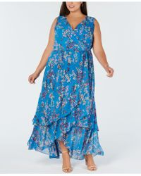 INC International Concepts - I.n.c. Plus Size Ruffle-trim Wrap Maxi Dress, Created For Macy's - Lyst
