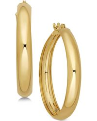 Macy's - Polished Flex Hoop Earrings In 10k Gold - Lyst
