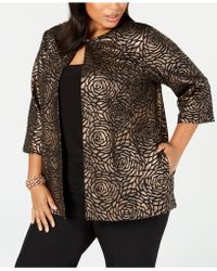 82124fda67e Lyst - Alex Evenings Sheer Embroidered Top   Jacket Set in Black