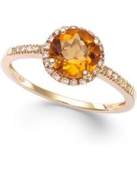 Macy's - Citrine (1-1/5 Ct. T.w) And Diamond (1/8 Ct. T.w.) Round Ring In 14k Gold - Lyst