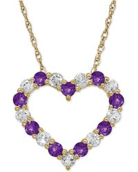 Macy's - Amethyst (5/8 Ct. T.w.) And White Topaz (3/4 Ct. T.w.) Heart Pendant Necklace In 14k Gold - Lyst