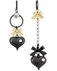 Betsey Johnson - Asymmetrical Black Heart Drop Earrings - Lyst