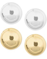 Nine West - Gold-tone And Silver-tone Stud Duo Earring Set - Lyst