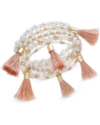 INC International Concepts - Gold-tone Bead And Tassel Stretch Bracelet, Created For Macy's - Lyst
