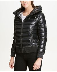 DKNY - Packable Hooded Bomber Puffer Coat - Lyst