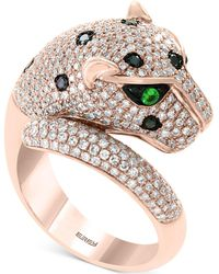Effy Collection - Effy® Diamond (1-1/2 Ct. T.w.) & Tsavorite Accent Panther Ring In 14k Rose Gold - Lyst