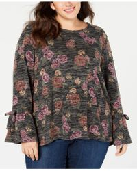 Style & Co. - Plus Size Floral-print Lantern Sleeve Top, Created For Macy's - Lyst