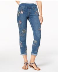 Style & Co. | Embroidered Boyfriend Jeans, Created For Macy's | Lyst