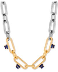 """Steve Madden - Two-tone Stone Linked 16"""" Collar Necklace - Lyst"""