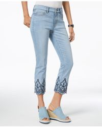 Tommy Hilfiger - Embroidered Scallop-hem Cropped Jeans, Created For Macy's - Lyst