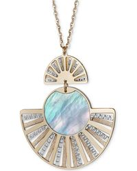 """Macy's - Mother-of-pearl Two-tone Fan Pendant Necklace In Sterling Silver & 14k Gold-plate, 18"""" + 2"""" Extender - Lyst"""