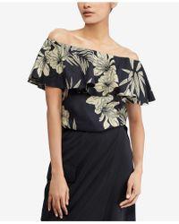Polo Ralph Lauren - Floral-print Off-the-shoulder Top - Lyst