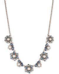 """Marchesa - Gold-tone Crystal, Stone & Imitation Pearl Statement Necklace, 16"""" + 3"""" Extender - Lyst"""