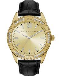 Sean John - Men's Bond Black Genuine Leather Strap Watch 48mm - Lyst