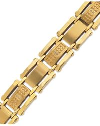 Macy's - Men's Single-cut Diamond Bracelet In Stainless Steel And Yellow-ion Plating (1/10 Ct. T.w.) - Lyst