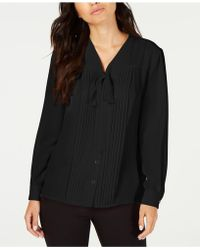Anne Klein - Bow-neck Button-front Blouse, Created For Macy's - Lyst